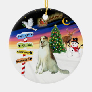 X Mas Signs - Borzoi (Russian Wolfhound) Christmas Tree Ornament
