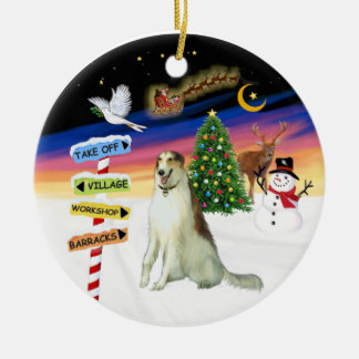 X Mas Signs - Borzoi (Russian Wolfhound) Christmas Tree Ornaments