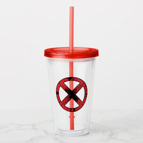 X-Men | Cracked Red and Black X Icon Acrylic Tumbler