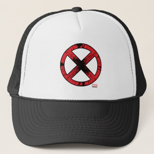 X_Men  Cracked Red and Black X Icon Trucker Hat