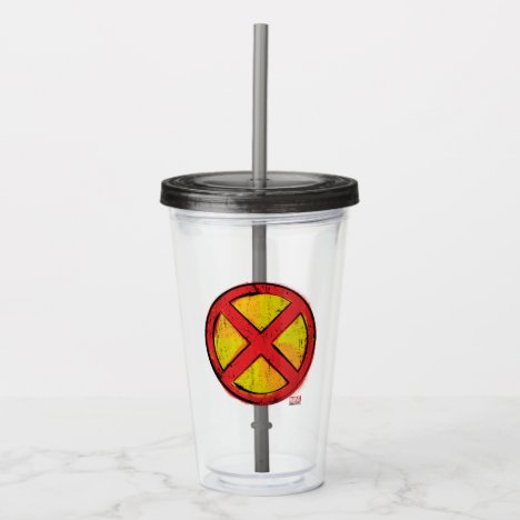 X-Men | Red and Yellow Spraypaint X Icon Acrylic Tumbler