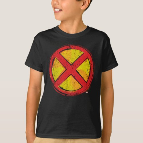 X_Men  Red and Yellow Spraypaint X Icon T_Shirt