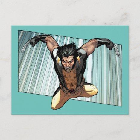 X-Men | Wolverine Leaping Down Comic Panel Postcard