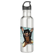 X-Men   Wolverine Leaping Down Comic Panel Stainless Steel Water Bottle