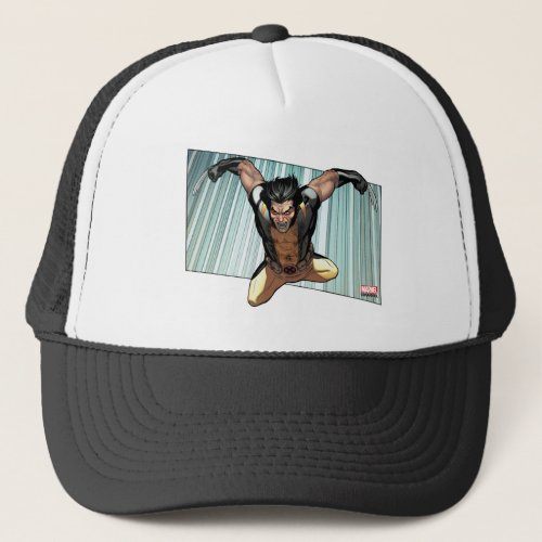 X_Men  Wolverine Leaping Down Comic Panel Trucker Hat