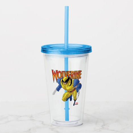 X-Men | Wolverine Running Into A Fight Acrylic Tumbler