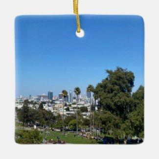 X: Mission San Francisco Ceramic Ornament