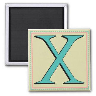 X MONOGRAM 2 INCH SQUARE MAGNET