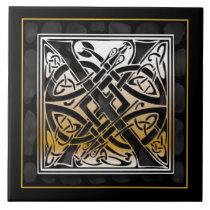 X Monogram Celtic Black Stone Ceramic Tiles