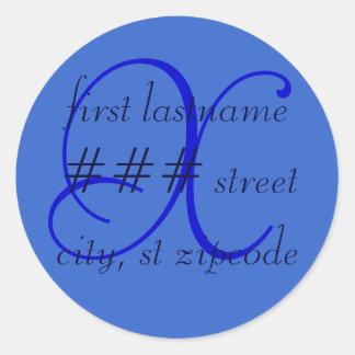 """X"" monogram return address label - personalize Classic Round Sticker"
