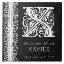 "X Monogram ""White Lace on Black"" Wedding Tile"