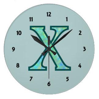 X monograma iluminado reloj redondo grande
