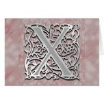 """X monograma tarjeta de felicitación """"de piedra"""" de"""
