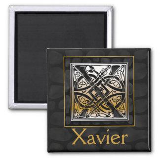 "X Name Monogram ""Celtic Black Stone"" Square Magnet"