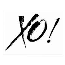 X&O Hugs And Kisses Love Black & White Postcard