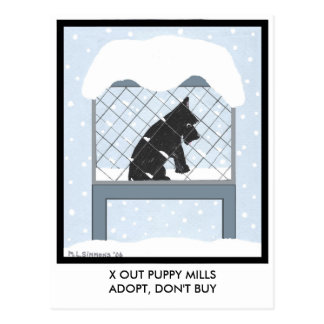 X OUT PUPPY MILLS POSTCARD