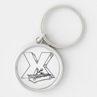 x para el esquema del xilófono llavero redondo plateado