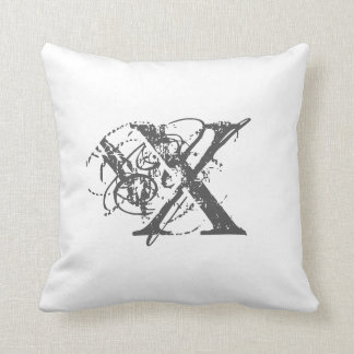 X personalized grey retro initial letter gifts throw pillow