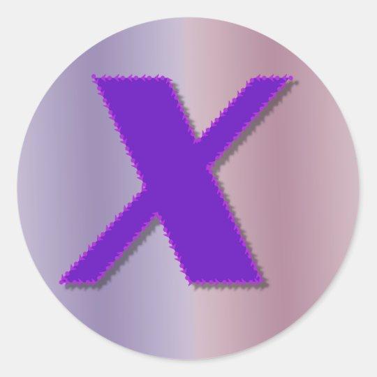 X purple monogram classic round sticker