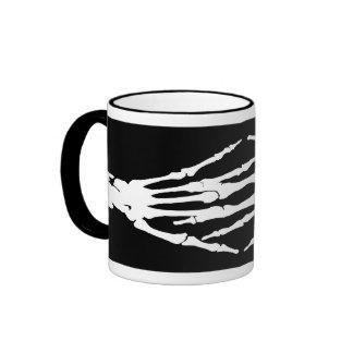 X-ray Bone Hands Human Skeleton-White Ringer Mug