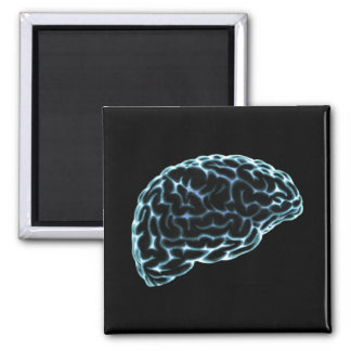 X-RAY BRAIN SIDE VIEW BLUE 2 INCH SQUARE MAGNET