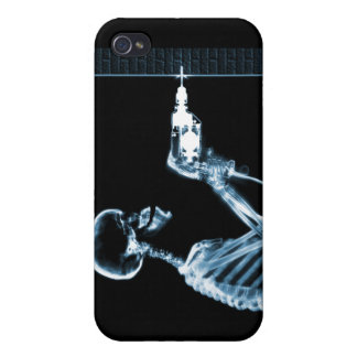X-RAY CONSTRUCTION SKELETON DRILLING BLUE iPhone 4/4S CASE
