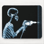 X-RAY CONSTRUCTION SKELETON DRILLING BLUE MOUSE PAD