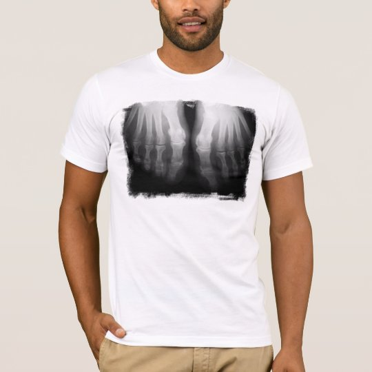 X-Ray Feet Human Skeleton Bones Black & White T-Shirt