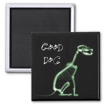 Halloween Themed X-RAY GOOD DOG SKELETON SITTING - GREEN MAGNET