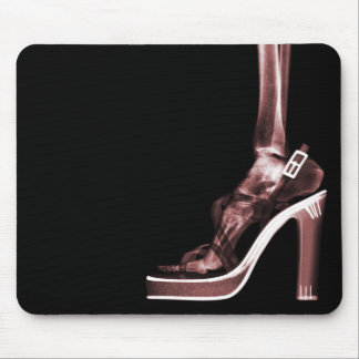X-RAY HIGH HEEL LADY SKELETON LEG RED MOUSE PAD