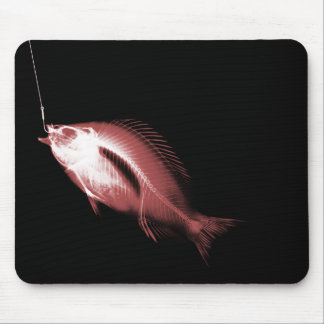 X-RAY HOOK FISH BLACK & RED MOUSE PAD