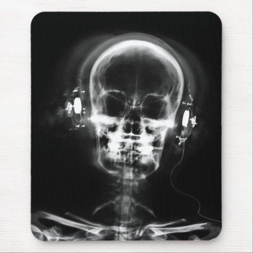X_RAY MUSIC SKELETON GREY BLACK  WHITE MOUSE PAD