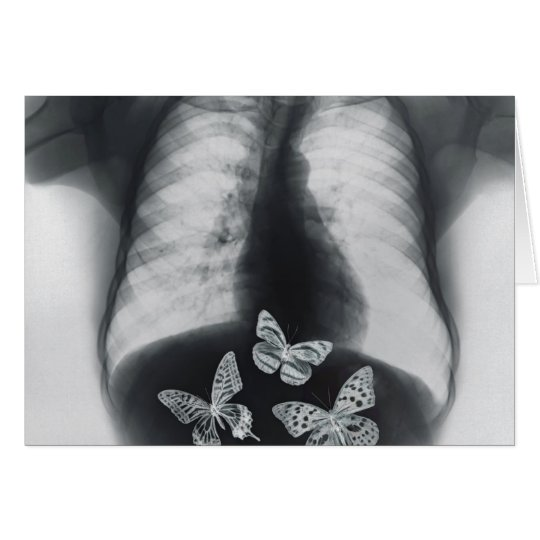 X-ray of butterflies in the stomach card