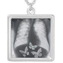 X-ray of butterflies in the stomach silver plated necklace