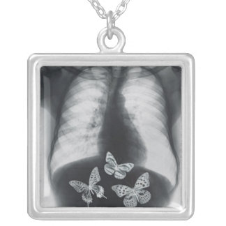 X-ray of butterflies in the stomach square pendant necklace