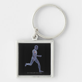 X-ray of the vascular system in a running man keychain