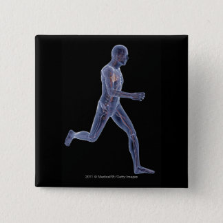 X-ray of the vascular system in a running man pinback button