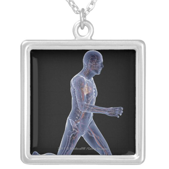 X-ray of the vascular system in a running man silver plated necklace
