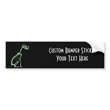 Halloween Themed X-RAY PUPPY DOG SKELETON SITTING - GREEN BUMPER STICKER