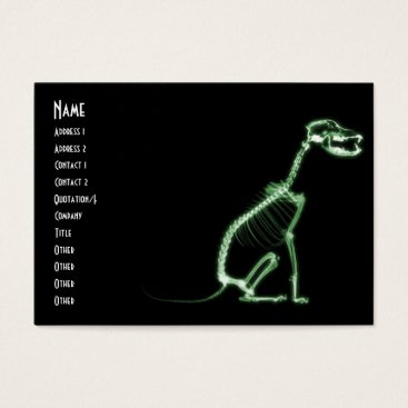 Halloween Themed X-RAY PUPPY DOG SKELETON SITTING - GREEN BUSINESS CARD