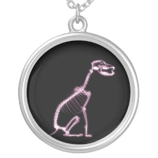 X-RAY PUPPY DOG SKELETON SITTING - PINK SILVER PLATED NECKLACE