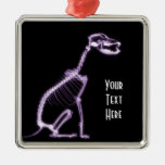 X-RAY PUPPY DOG SKELETON SITTING - PURPLE CHRISTMAS ORNAMENTS