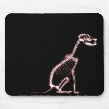 Halloween Themed X-RAY PUPPY DOG SKELETON SITTING - RED MOUSE PAD