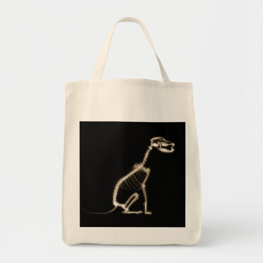 X-RAY PUPPY DOG SKELETON SITTING - SEPIA GROCERY TOTE BAG