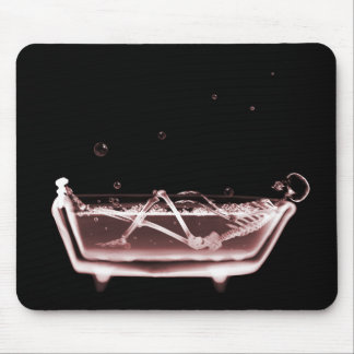 X-Ray Skeleton B&W Bath Time Red Mouse Pad