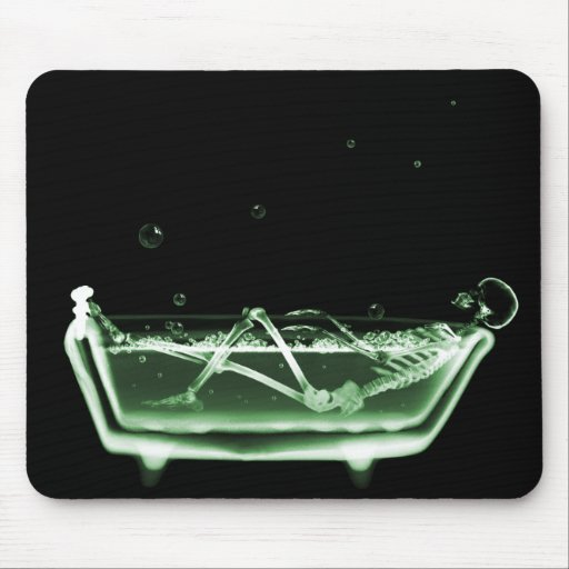 X-Ray Skeleton Bath Black Green Mouse Pad