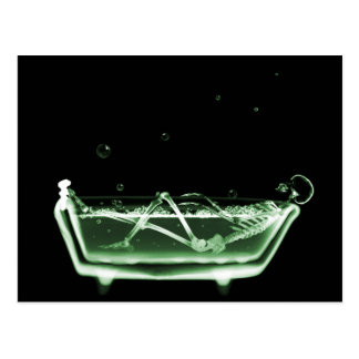 X-Ray Skeleton Bath Black Green Postcard