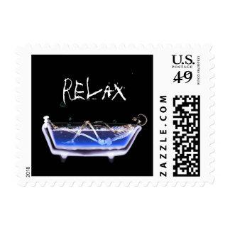 X-Ray Skeleton Bath Original Postage Stamp