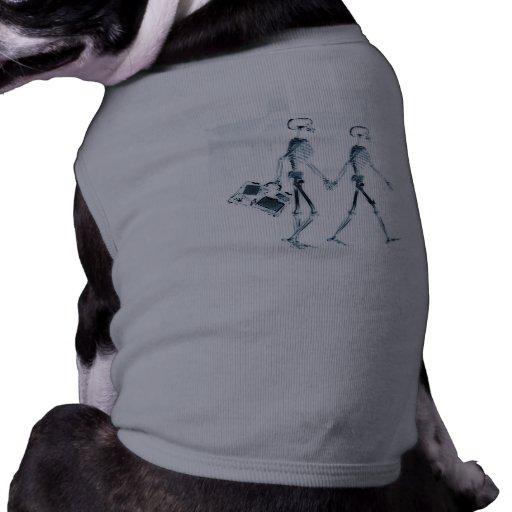 X-Ray Skeleton Couple Traveling -Blue Doggie T-shirt