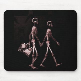 X-Ray Skeleton Couple Travelling Black Red Mouse Pad